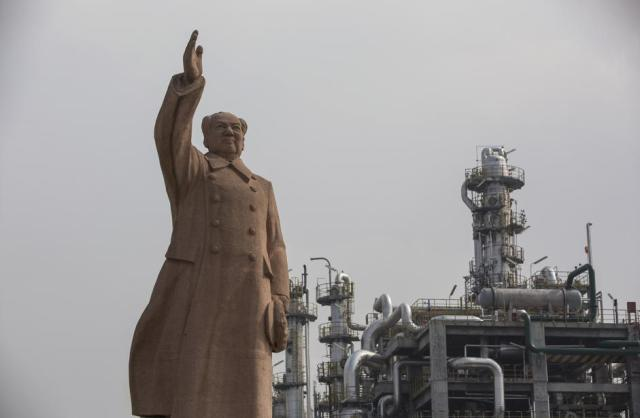 A statue of former Chinese leader Mao Zedong is seen at a petrochemical plant in Nanjing