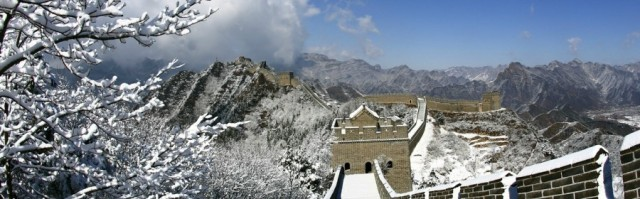 Spring snow covers the Huangyaguan section of the Great Wall, located in north of Ji county, Tianjin municipality