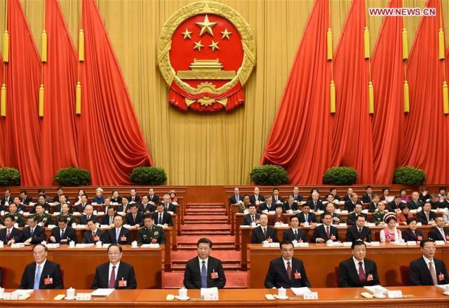 March 5, 2016 Xi Jinping (3rd L, front), Li Keqiang (3rd R, front), Yu Zhengsheng (2nd L, front), Liu Yunshan (2nd R, front), Wang Qishan (1st L, front) and Zhang Gaoli (1st R, front) attend