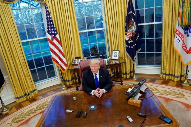 U.S. President Trump sits for exclusive interview with Reuters in Oval Office at White House in Washington